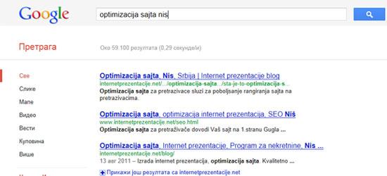 Optimizacija sajta Nis